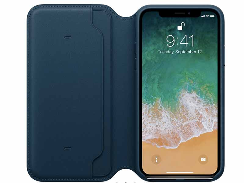 iPhone X Leather folio case at Apple Store in Muscat