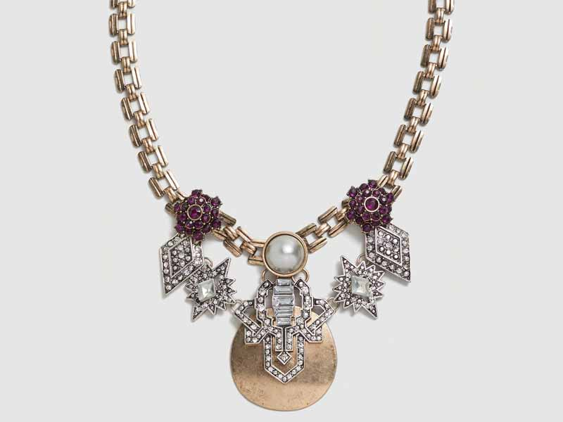 Crystal metal necklace by Mango, Muscat