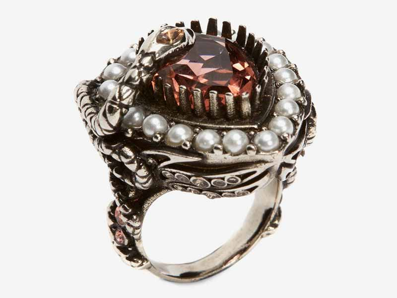 Metal and jewel ring, Alexander McQueen